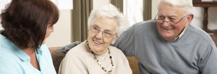 Companion with older woman and man