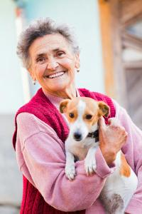 Older woman with her dog